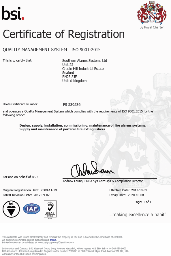 Southern Alarm Systems ISO 9001:2015